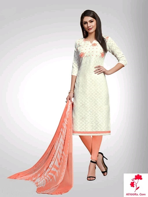 Elite Trendy Poly Cotton Women Chudidhar material Peach colour