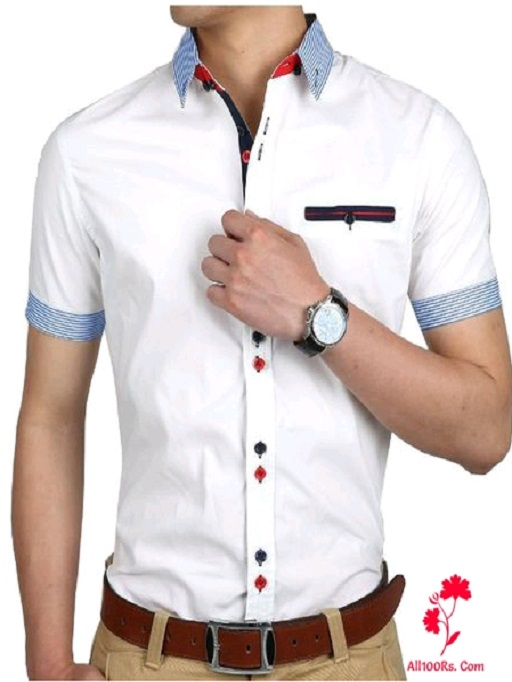 Men's Stylish Cotton Solid Full Sleeves Shirts 2