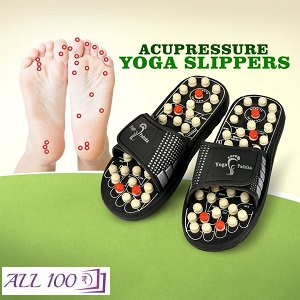 Acupressure & Magnetic Therapy Acu Paduka Slippers For Full Body Blood Circulation Natural Leg Foot Massager Slippers.