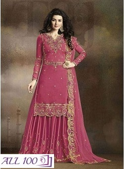 Semi Stitched Embroidery Silk Georgette Dress Material With Dupatta
