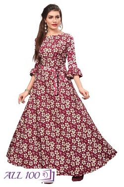 Women's Printed Full-Stitched Crepe Western Gown