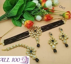Alloy Beads With Crystal Work Jewellery Set For Women