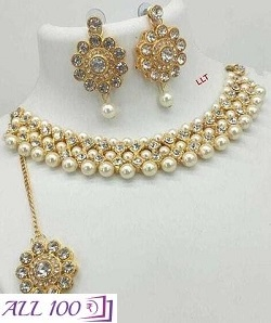 Alloy Pearl Work With Diamond Work Jewellery Set For Women
