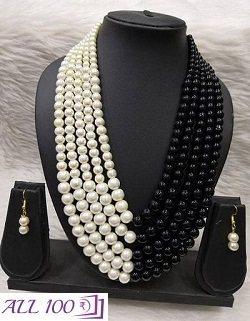 Pearl 5 Layered Necklace With Earing