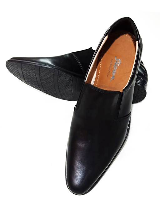 Panter Pointed Black Leather Shoes