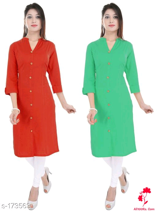 Ladies Solid Colored Kurtis Combo 4