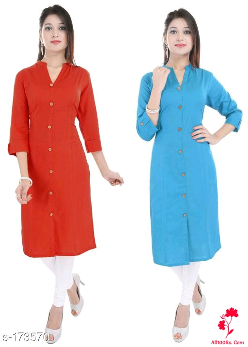 Ladies Solid Colored Kurtis Combo 6