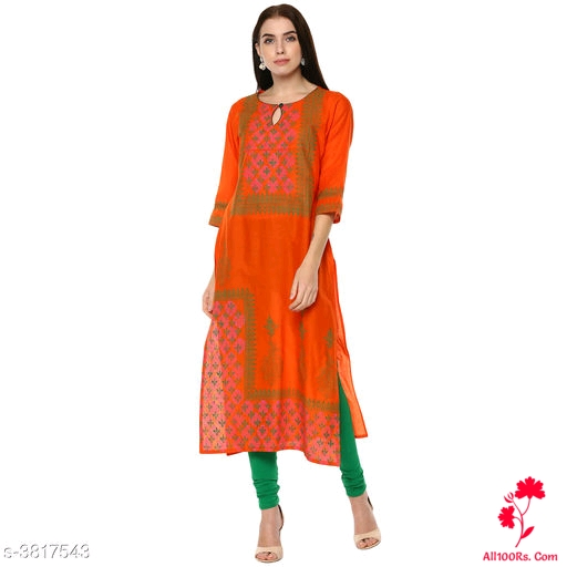 Ebiya Elegant Orange Cotton Printed Kurtis