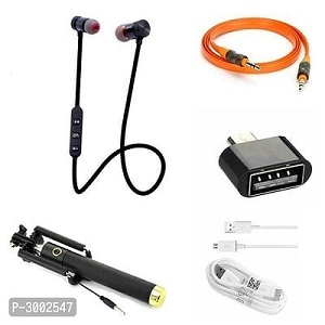 Combo Of Black Selfie Stick, Aux Cable, OTG, Sports Bluetooth Headset & Data Cable