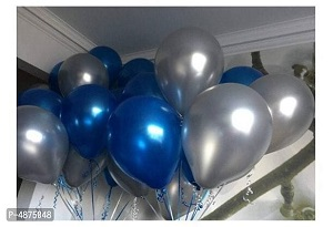 Vibrant color Combo Pack of 50 Balloons - Blue, Silver Balloons Combo