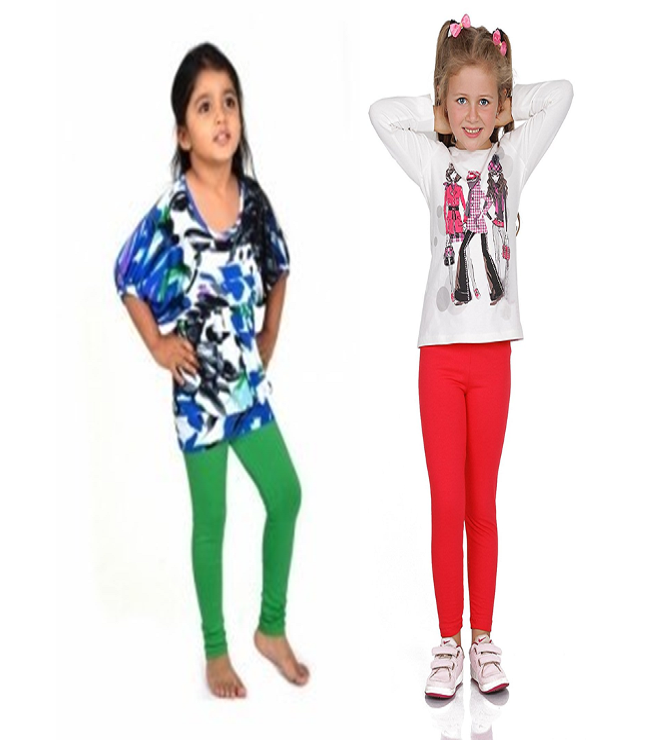 b870959e36189 Fashion Kids Leggings Green and Red Combo